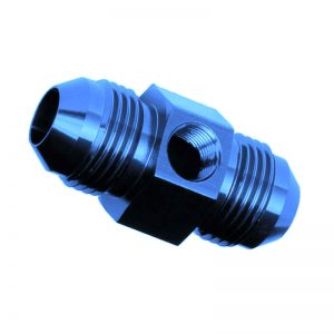 6AN Male to 6AN Male with 1/8 NPT Blue Fuel Gauge Adapter