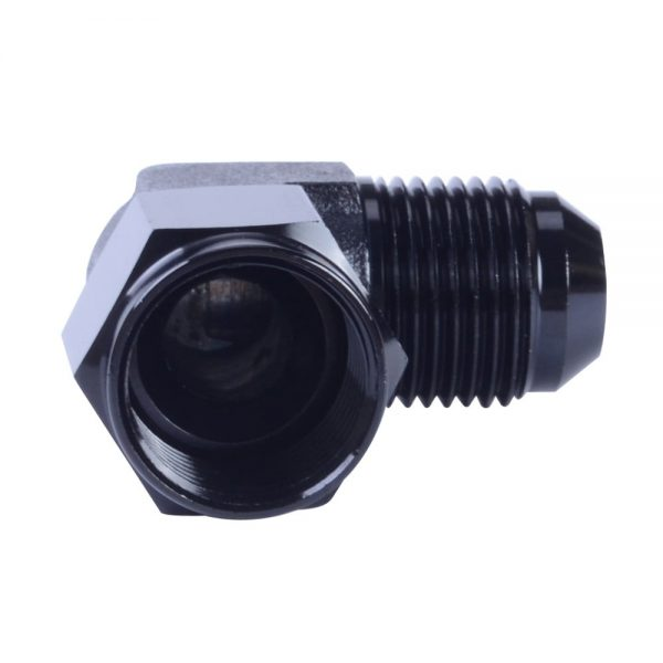 Male 6AN To 6AN Female 90 Degree Aluminum Swivel Coupler Black