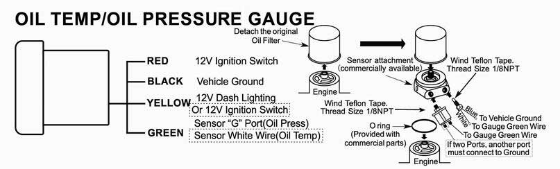 Oil temp Pressure Gauge install instructions