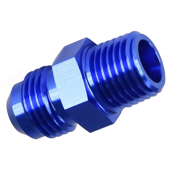 6AN Male to 1/8 NPT Male Straight Adapter Flare Fitting Coupler Blue